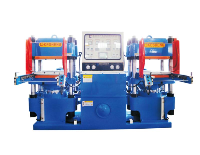 高精密度双油泵全自动快速轨道开模油压平板硫化机